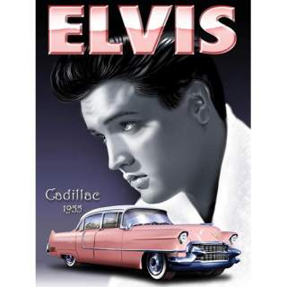 Elvis ja Cadillac -peltikyltti 30x40 cm