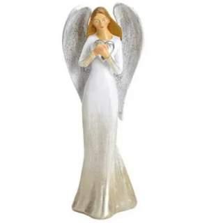 Hopeasiipi-enkeli ja sydän 18 cm