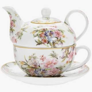 """Ruusut ja liljat -teekannu ja kuppi """"Tea For One"""""""