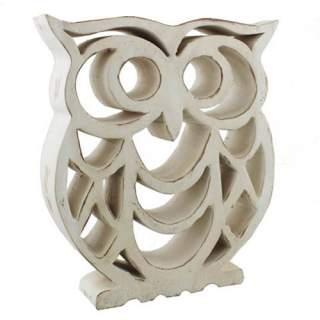 Pöllö-veistos puinen 24 cm