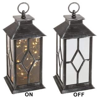 Lyhty LED-valo musta/hopea