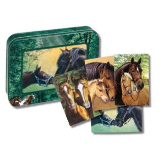 Hevosystävykset -kortit peltirasiassa