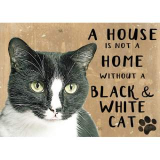 Musta/valkoinen kissa -peltikyltti 20x15 cm