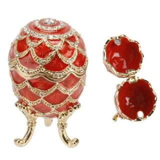 Emali/kultarasia Fabergé 6 cm punainen